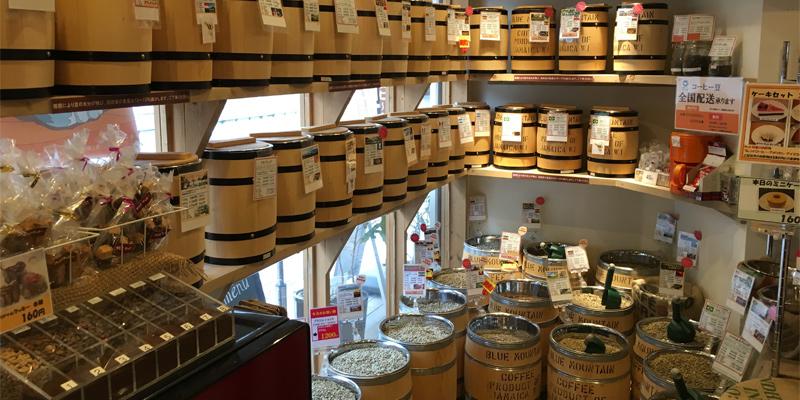 カフェてんぷす 50種類以上の珈琲豆を取り揃え