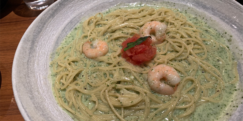 海老のバジルクリームソーススパゲッティ